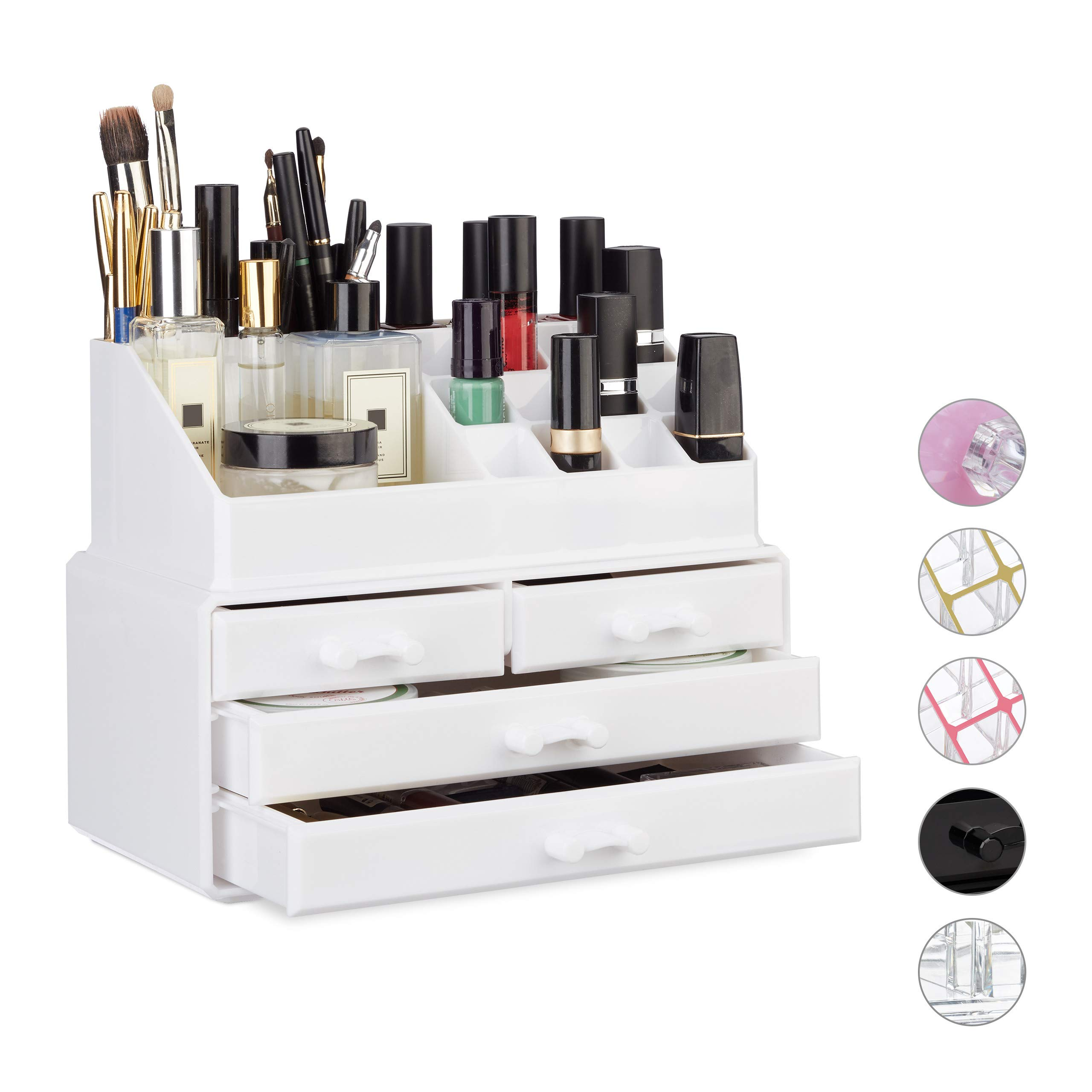 Relaxdays Makeup Organizer with 4 Drawers, Cosmetics Holder for Nail Polish and Lipstick, Acrylic Makeup Kit, White
