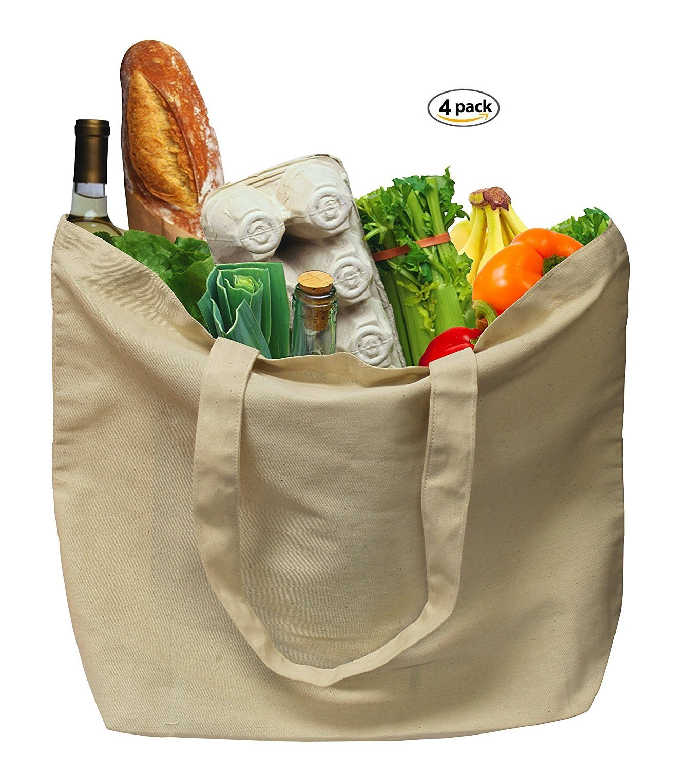 Earthwise Organic Cotton Reusable Grocery Shopping Bags Large Machine Washable 18