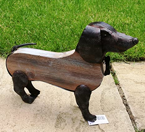Metal Wood Rustic Sausage Dog Sculpture Garden Conservatory Ornament 38cm Long