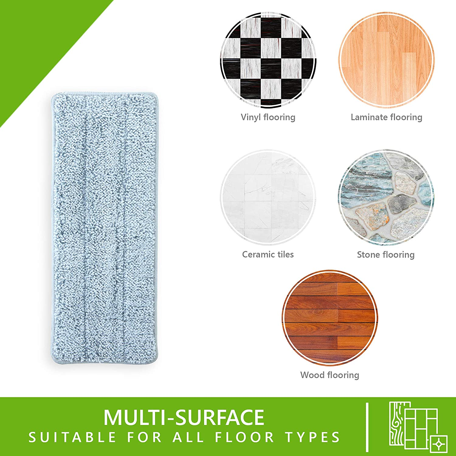 Super Absorbent and Ecological Microfiber. Suitable for all floor types and machine washable Easy Gleam 2 PACK Microfibre Mop Pad Replacement for EasyGleam Flat Mop and Bucket