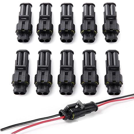 CLE DE Tous - 10 Juegos de 2 Pin Conector Sellado Estanco Impermeable para Cables Eléctricos