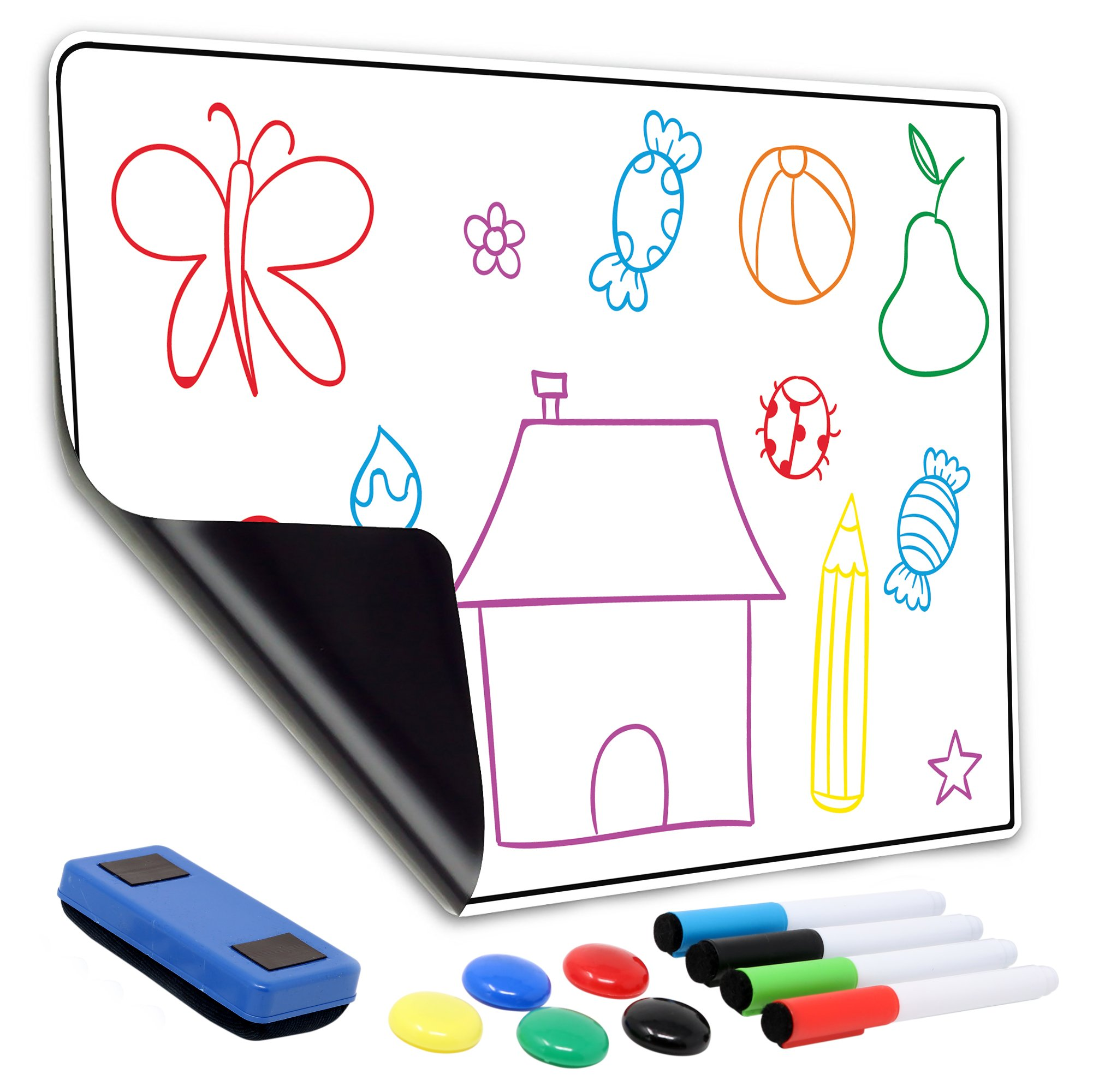 "Magnetic Dry Erase Sheet |13"" x 19"" Large Magnetic White Board for Fridge & Wall, No GHOSTING 
