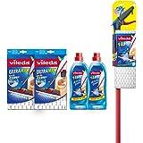 Vileda 1-2 Spray Microfibre Flat Spray Mop with Extra Microfibre Refill with Vileda 1-2 Spray Floor Cleaning Liquid, 750 ml - Pack of 2 and Vileda Ultramax/1-2 Spray Microfibre Refill - Pack of 2