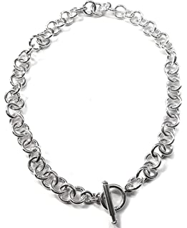 9073ba2e4 Tiffany Style Link Chain Necklace w/Toggle Clasp-Sliding Bar in Sterling