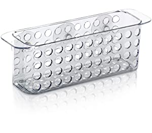 "DecorRack Bath Caddy Basket with Suction Cups, 10"" Long, Clear Acrylic Plastic, Perfect Bathroom Decor, Hold Toiletries, Kitchen Accessories, Space Saving Shower Organizer (1 Pack)"
