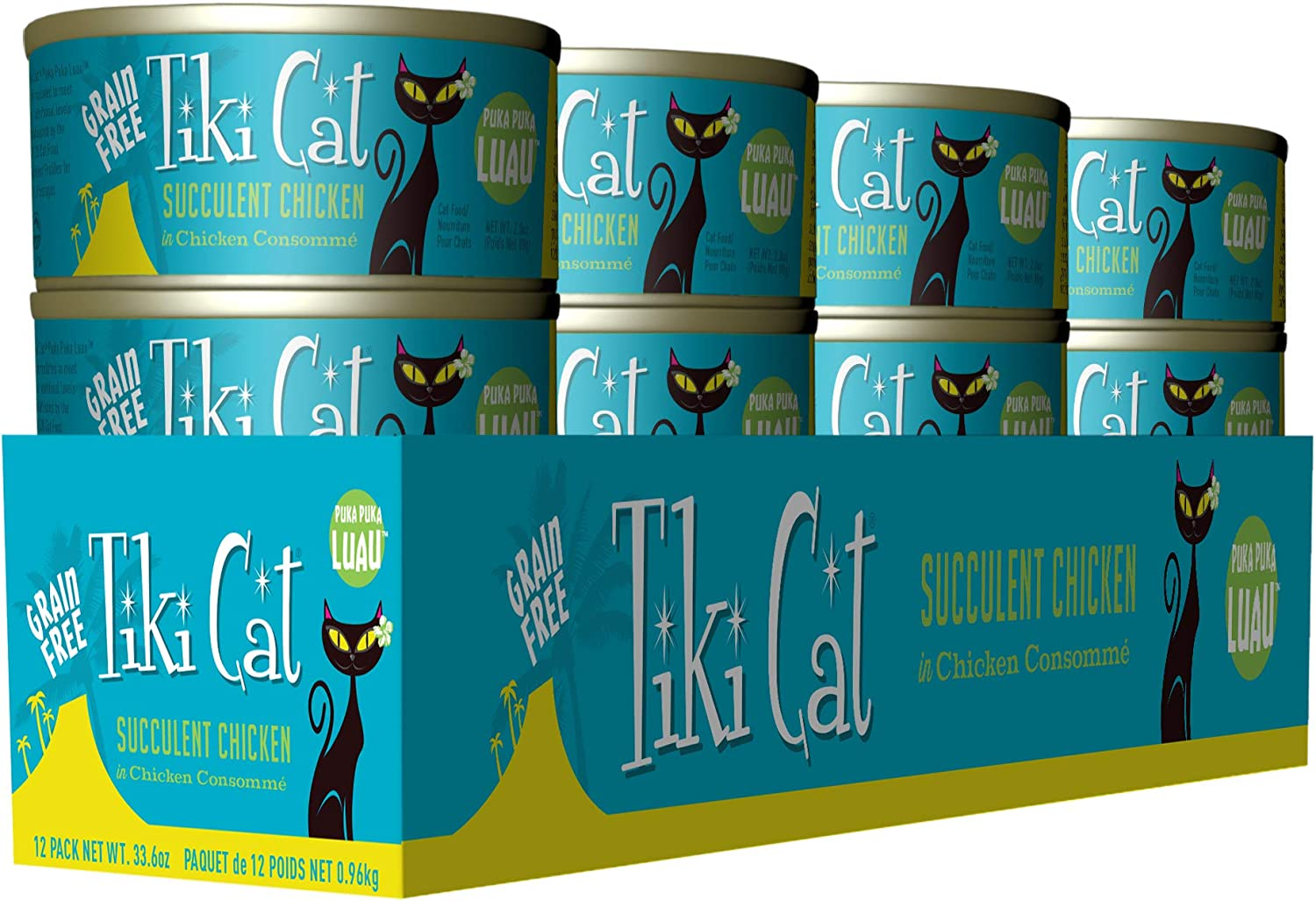 Tiki Cat Luau Grain-Free, Low-Carbohydrate Wet Food with Poultry or Fish in Consomme for Adult Cats & Kittens