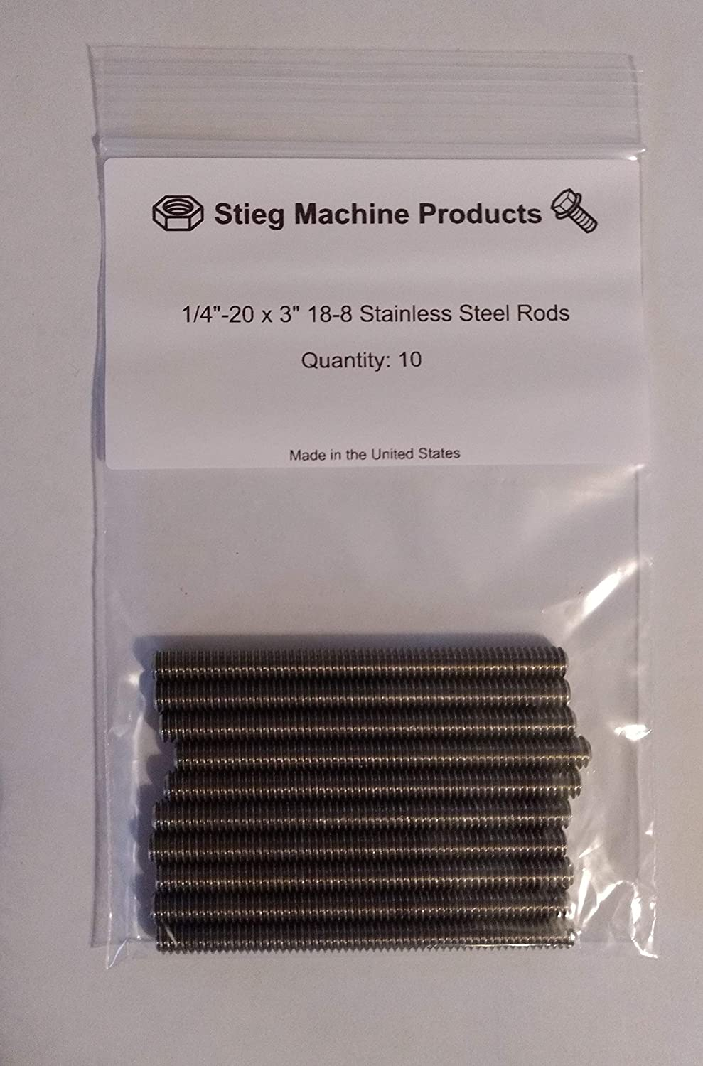 1//4-20 x 3 10 Pk Fully Threaded Rods Made in The United States 18-8 Stainless Steel