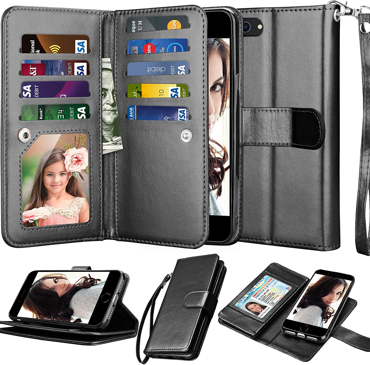 Njjex Wallet Case for iPhone SE 2020/SE2, for iPhone 8/iPhone 7 Case, [9 Card Slots] PU Leather Credit Holder Folio Flip [Detachable] Kickstand Lanyard Magnetic Phone Cover for iPhone SE 2nd [Black]