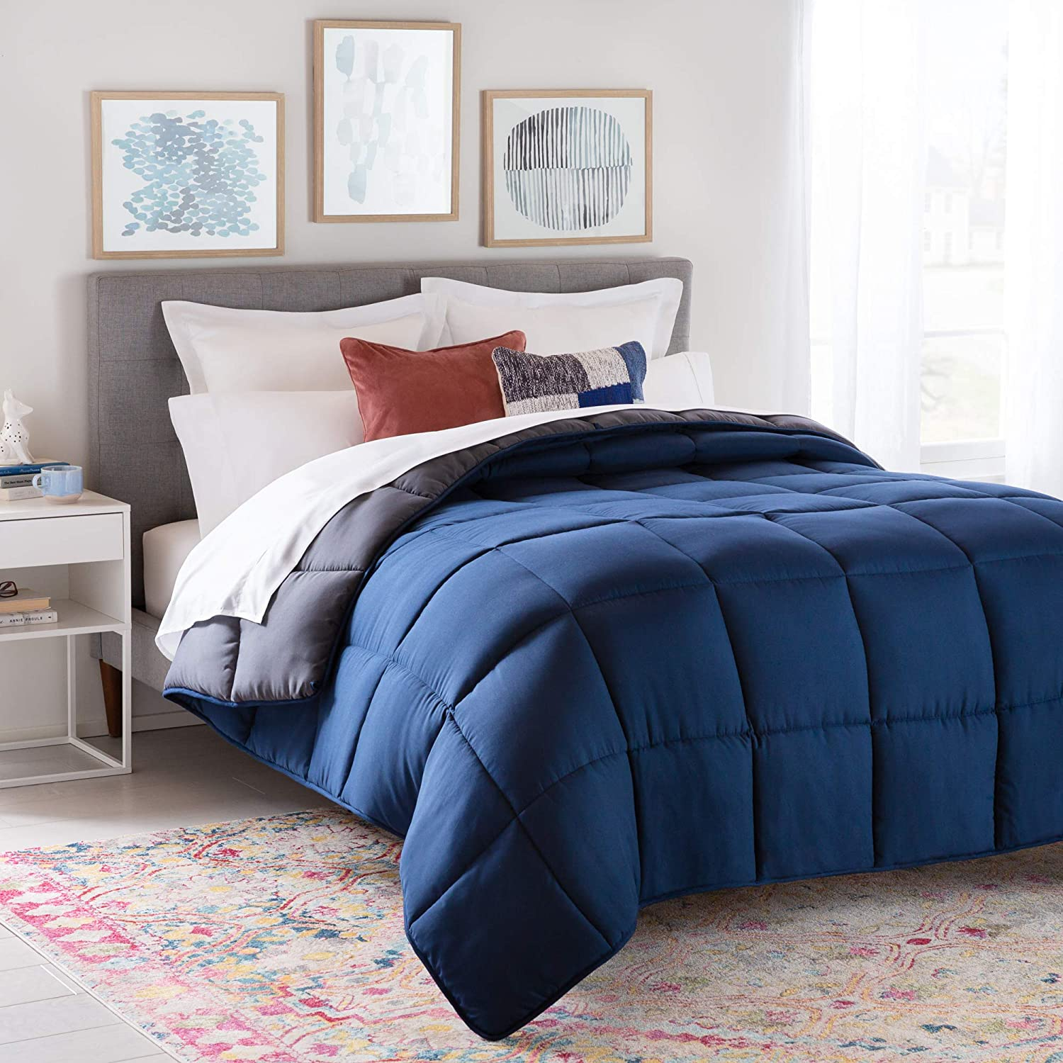 Linenspa All-Season Reversible Down Alternative Quilted Comforter - Hypoallergenic - Plush Microfiber Fill - Machine Washable - Duvet Insert or Stand-Alone Comforter - Navy/Graphite - Queen: Home & Kitchen
