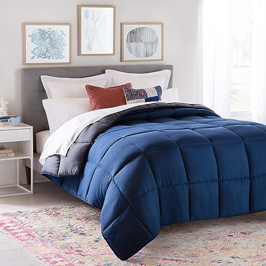 All-Season Down Alternative Quilted Comforter Plush Colorful Microfiber Fill