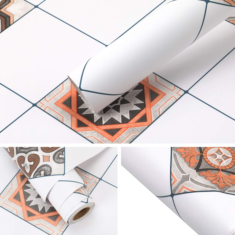 KINLO Fliesenaufkleber 61 61 61 x 500cm 2 Rollen Küchenfolie Tapete Tischfolie Wandaufkleber Klebefolie Wasserdicht Möbelfolie Fliesen für Küche Bad Möbel Fliesenfolie Dekofolie Typ-C B07L6L4PLC Fliesenaufkleber 55bfe7