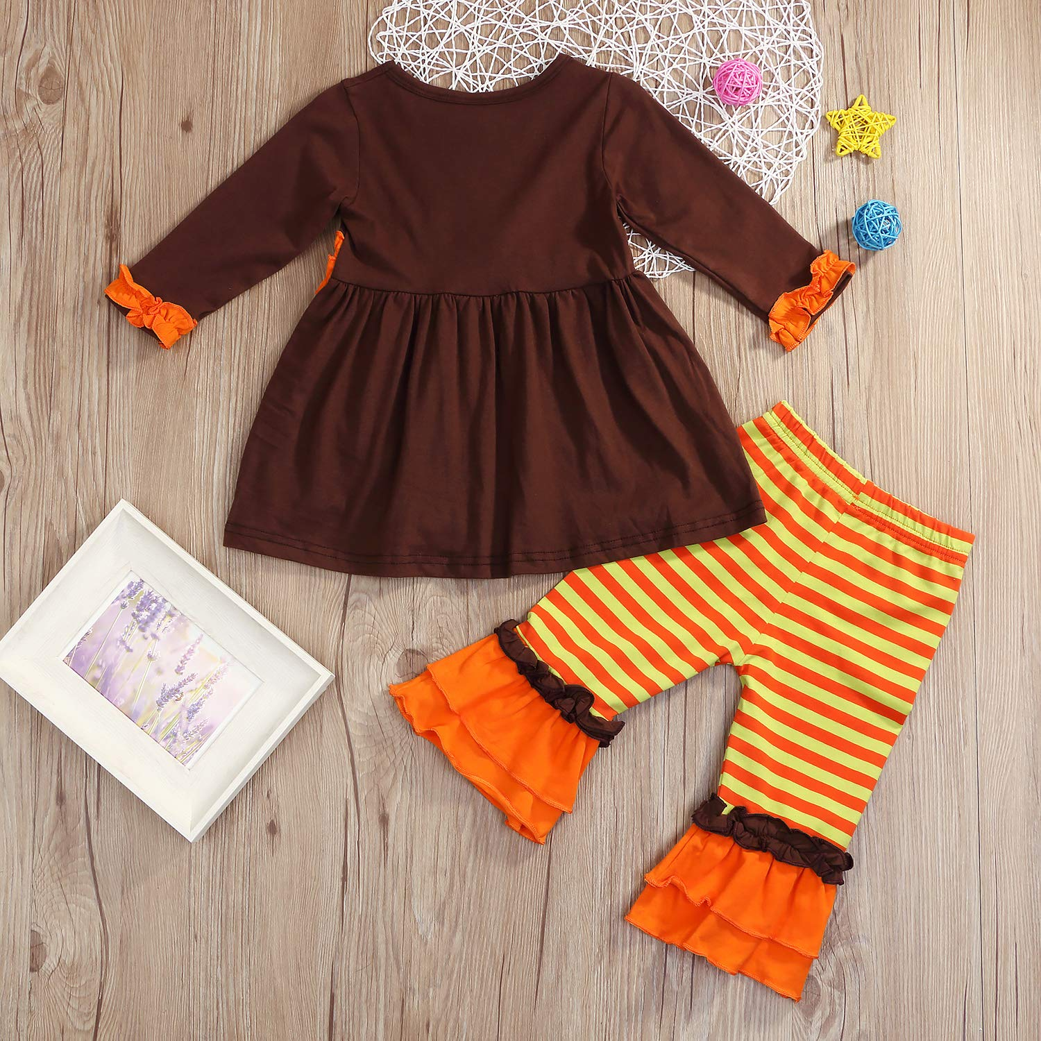cc36acec53b0 Amazon.com: Toddler Baby Girls Thanksgiving Outfit Turkey Print Ruffle Top+ Pants Clothes Set: Clothing