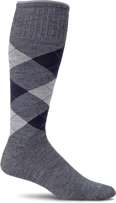 Medium//Large Sockwell Mens Argyle Circulator Compression Socks Charcoal