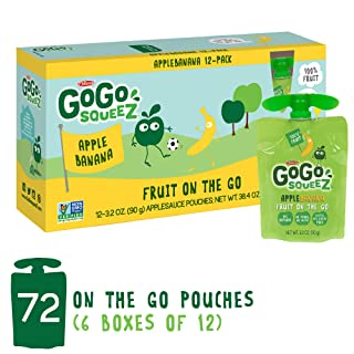 GoGo squeeZ Applesauce on the Go, Apple Banana, 3.2 Ounce (72 Pouches), Gluten Free, Vegan Friendly, Healthy Snacks, Unsweetened Applesauce, Recloseable, BPA Free Pouches