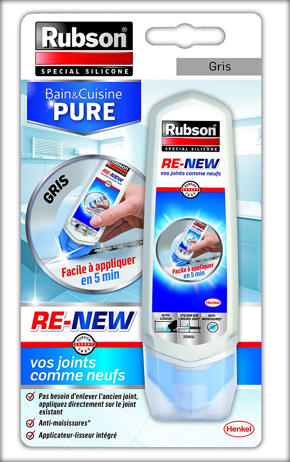 Rubson 16 Renew Sanitaire Vos Joints comme Neufs, Mastic B&C Pure  RE-New Gris Tube 16ml