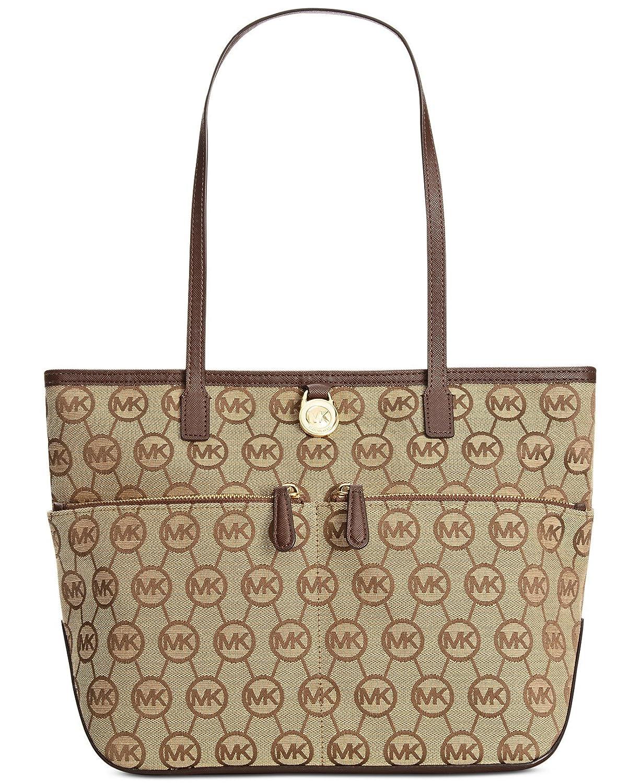 b48bbb0ad998 Amazon.com: Michael Kors Kempton Medium Pocket Tote Handbag (Medium, Mocha  Signature): Shoes