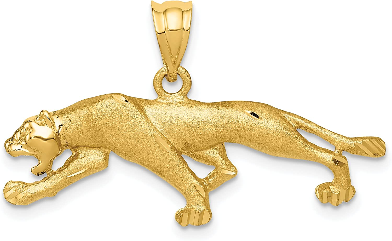 14K Yellow Gold Textured Panther Charm Animal Pendant