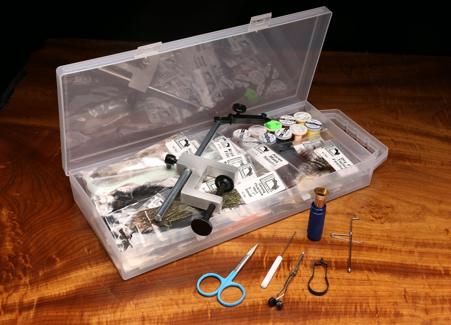 Hareline Fly Tying Material Kit with Premium Tools and Vise by Hareline Dubbin Inc
