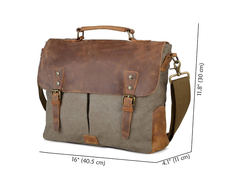 3ab926c3e1 Gootium Canvas Leather Messenger Bag - Vintage Briefcase 14