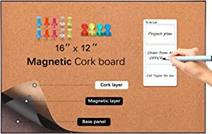 Ai-office Magnetic Cork Board Bulletin Board,12x16 inches, pushpins and Power Magnet Supplied, corkboard with Aluminium Frame,Decorative Easy Hang Cork Bulletin Board for Wall for Office for Home