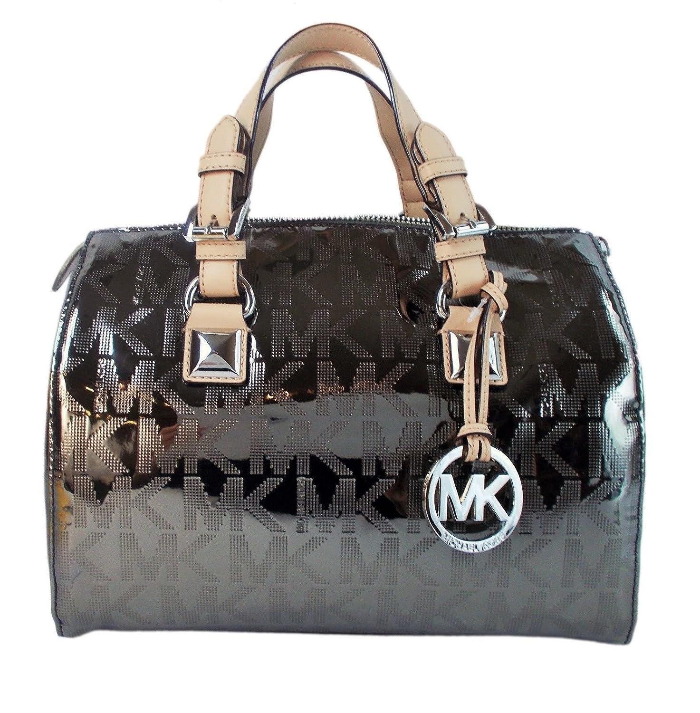 5fa893c119 Michael Kors Grayson Medium Satchel Mirror Metallic in Nickel: Amazon.ca:  Shoes & Handbags