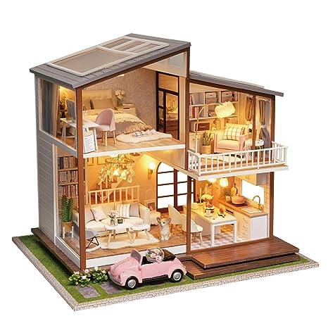 A Diy Dollhouse Amazon Hecho esCuteroom Mano Miniatura Madera En QhrCsxdt