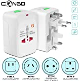Congo Universal International All in One Worldwide Travel Adapter Wall Charger AC Power Plug Adapter for USA/UK/AUS/EU Cellphone Laptop with Surge/Pike Protected Supports More Than 150 Countries