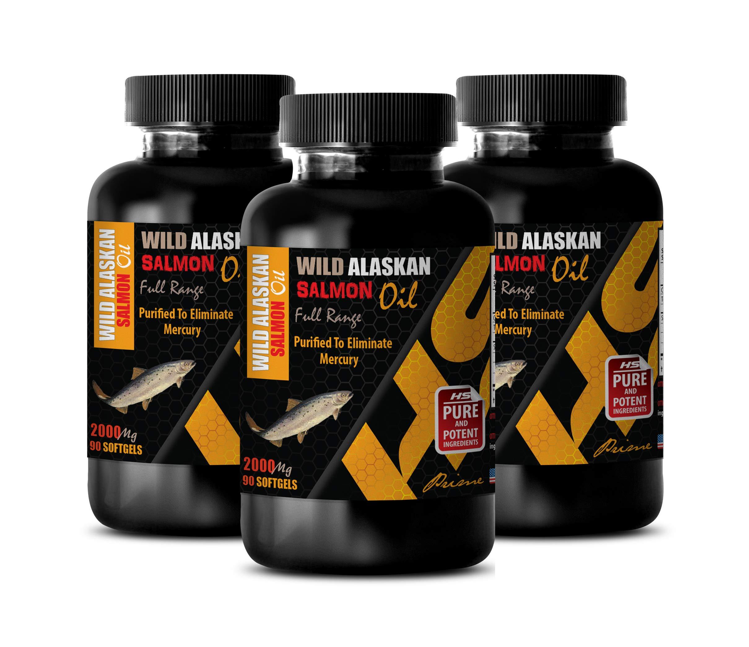 Immune System Booster - Wild Alaskan Salmon Oil - Full Range 2000Mg - Omega 3 dha epa - 3 Bottles 270 Softgels