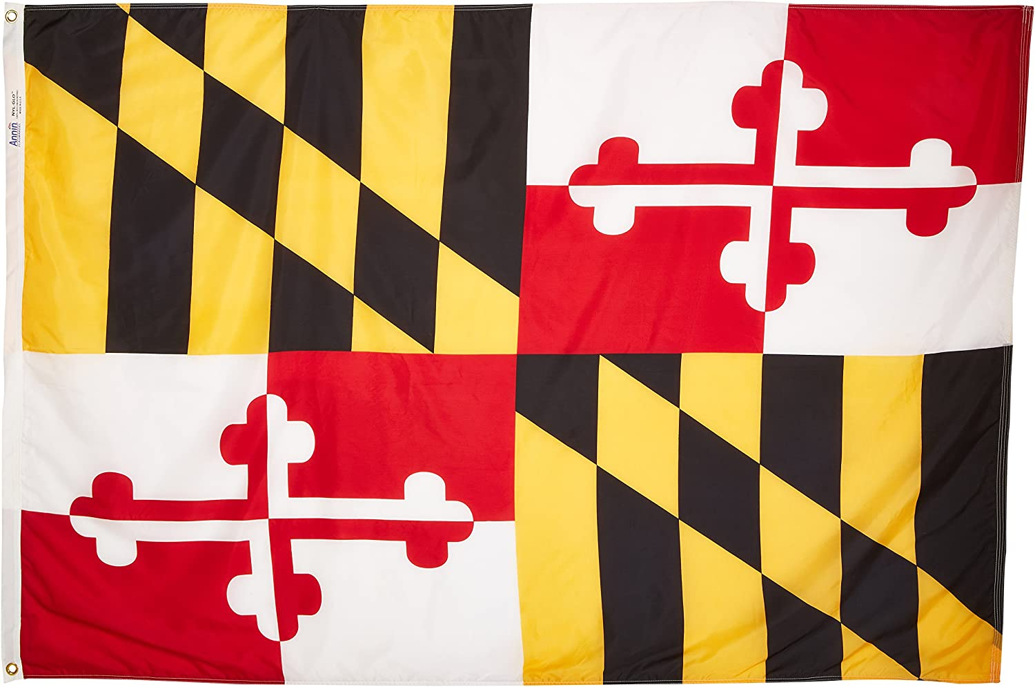 Annin Flagmakers Model 142370 Maryland State Flag 4x6 ft. Nylon SolarGuard Nyl-Glo 100% Made in USA to Official State Design Specifications.
