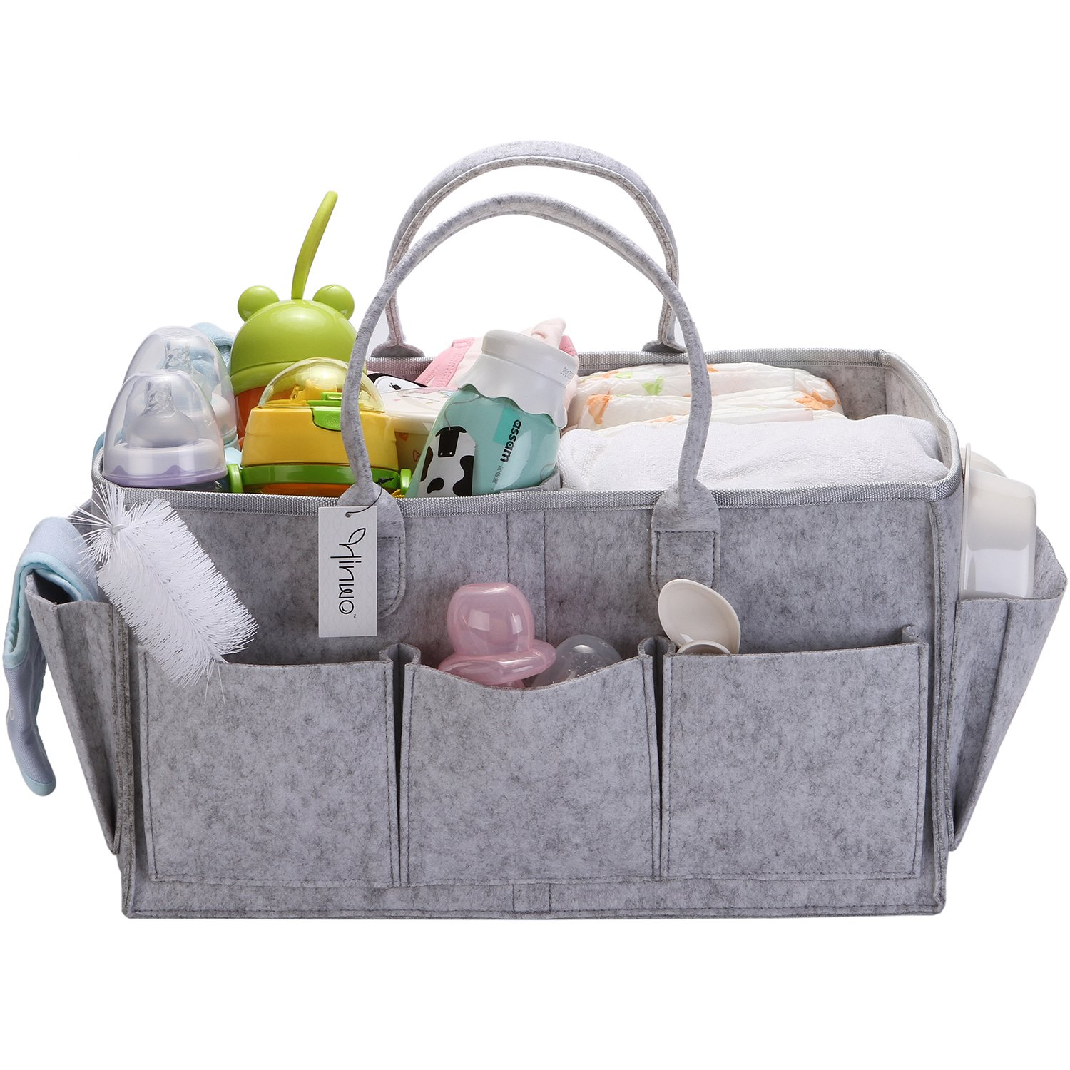 Multifunction Baby Diaper Caddy 3-Compartment Infant Nursery Tote Storage Bin Portable Car Organizer Newborn Shower Gift Basket with Detachable Divider Blue
