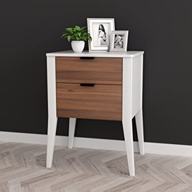 White / Walnut Finish Oak Side End Table Nightstand with Two Storage Drawer 26 H