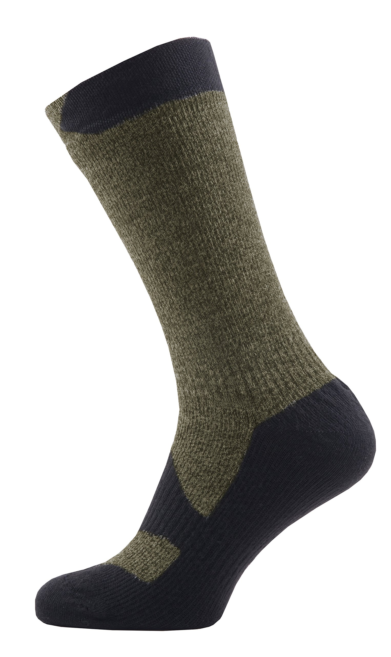 SealSkinz Walking Thin Mid socks, Small - Olive Marl/Charcoal. With a Helicase brand sock ring