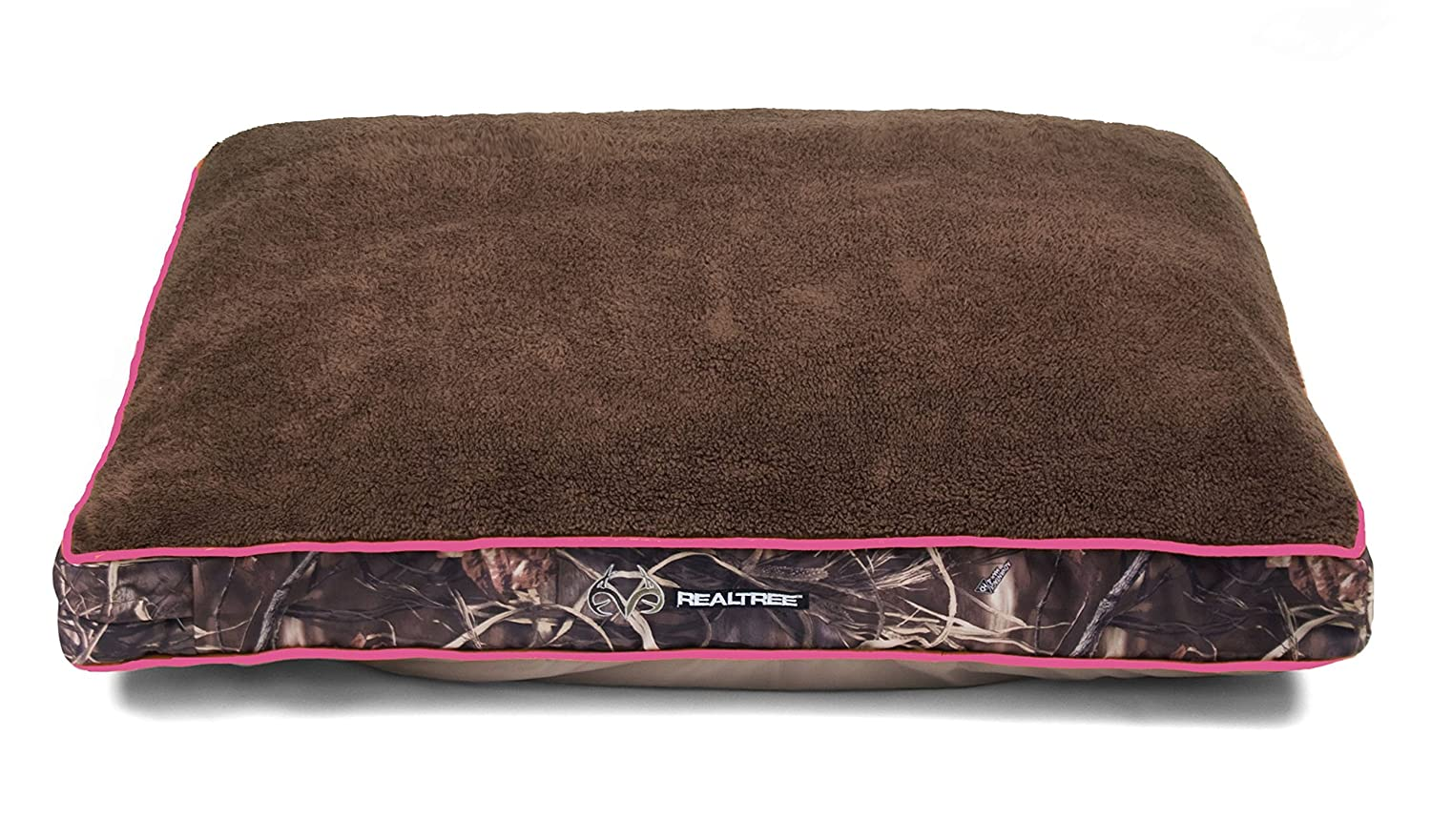 Dallas WG3040-930.2 Realtree Gusseted Pet Bed, Camo with Pink Piping, 40  x 30