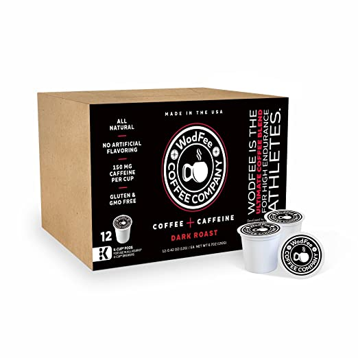 WodFee Coffee Company, Worlds Strongest Coffee with Added Caffeine Keto Friendly - 12 K Cups (Dark Roast)