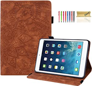 iPad Mini 4 Case, iPad Mini 5 Case, Dteck iPad Mini Case for Girls Flip Leather Multi-Angle Viewing Folio Stand Case Cover for Apple iPad Mini 1/2/3/4/5, Brown