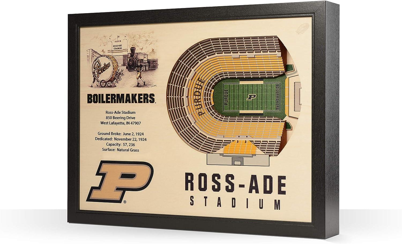 """NCAA Purdue Boilermakers 25-Layer Stadiumviews 3D Wall Art, Purdue Boilermakers, Football, 25.5"""" x 19.5"""" x 3.5"""", Team Color"""
