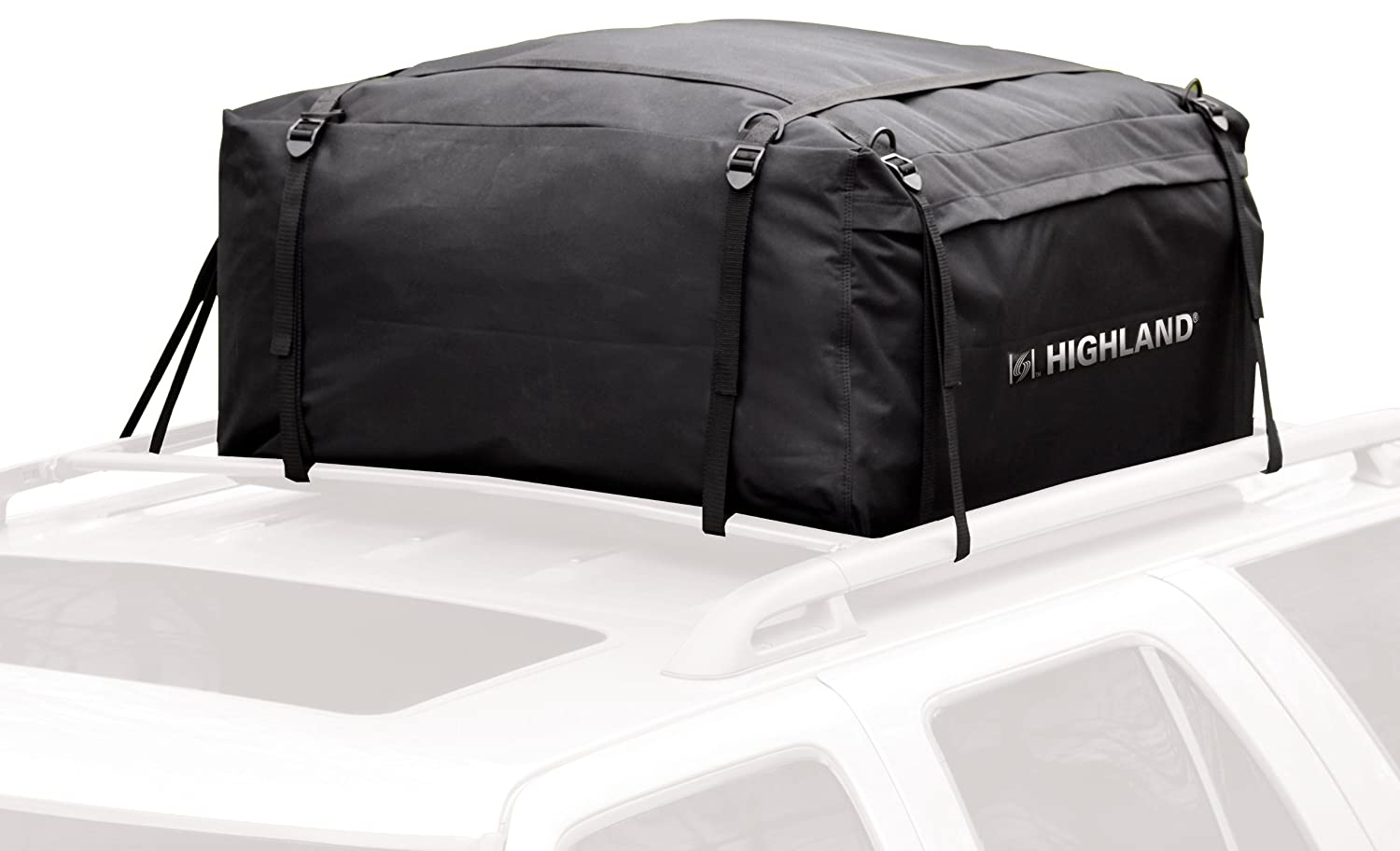Highland 1038800 Black 10 cu.ft. Weather Resistant Car Top Bag with Storage Sack Hidden Hitch mon0000000381