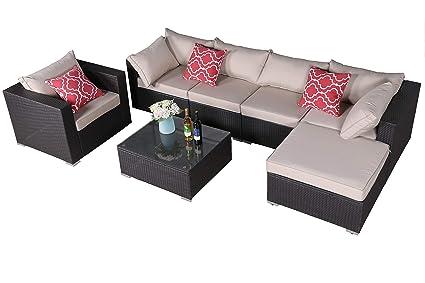 Amazon.com: Do4U Patio Sofa 7-Piece Set Outdoor Furniture Sectional ...