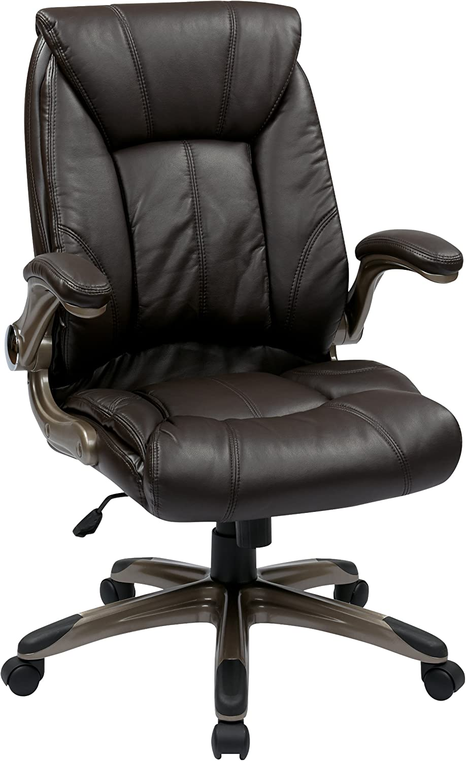 Office Star Faux Leather Seat and Mid Back Executive Chair with Padded Arms and Cocoa Finish Accents, Espresso