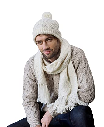 fbfcac329df6bd Image Unavailable. Image not available for. Color: 100% Irish Merino Hand  Knitted Cream Wool Hat ...