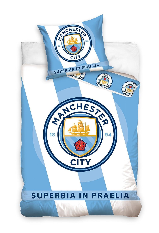 Manchester City FC - Juego de funda de edredón y funda de almohada ...