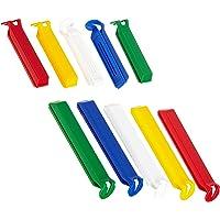 FACKELMANN Aromaclips TECNO, Verschlussclipse aus Kunststoff in 2 Größen, Verschlussklammern für Tüten (Farbe: Weiß/Blau/Gelb/Grün/Rot), Menge: 10 Stück
