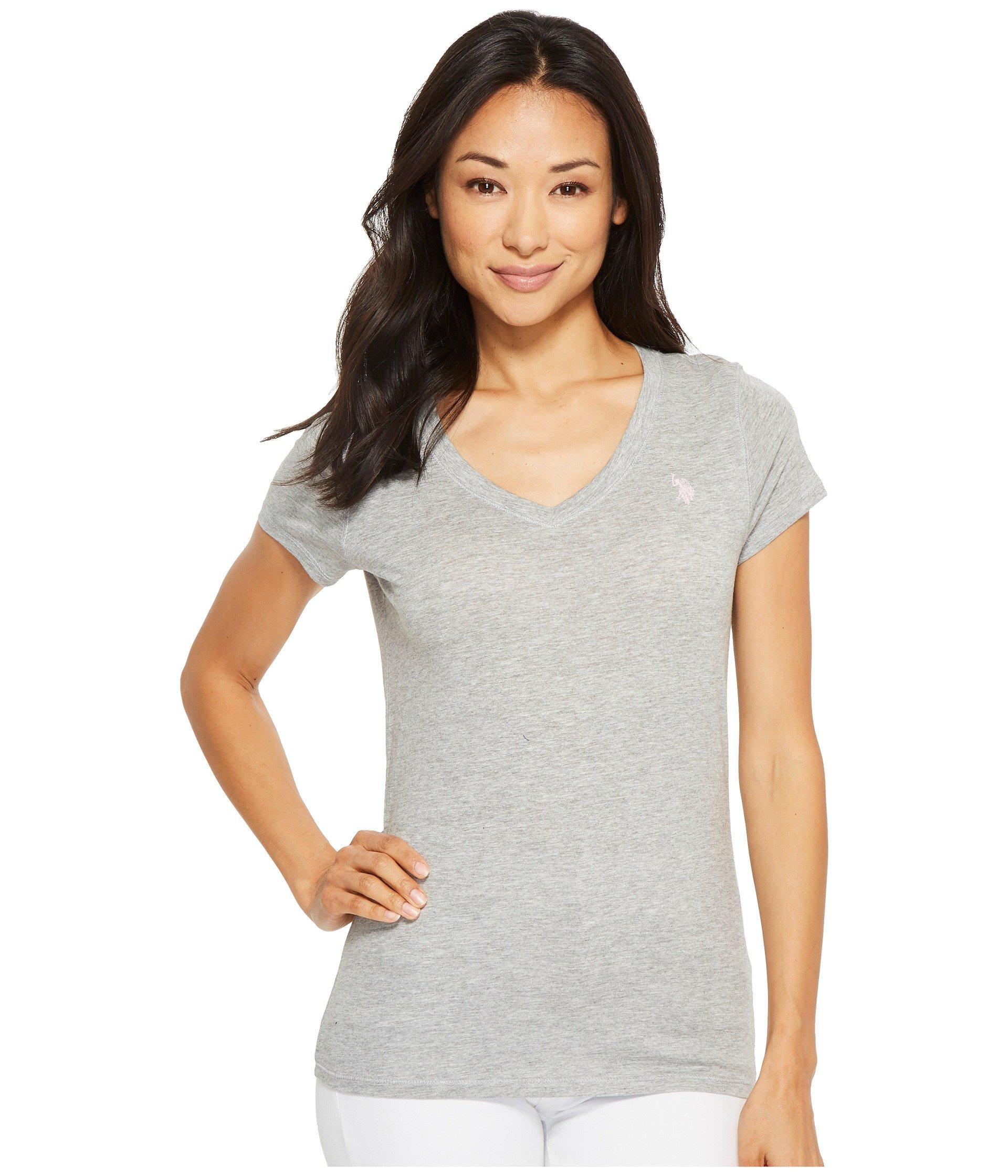 US Polo Assn Women's Short Sleeve V-Neck T-Shirt, Heather Grey, L