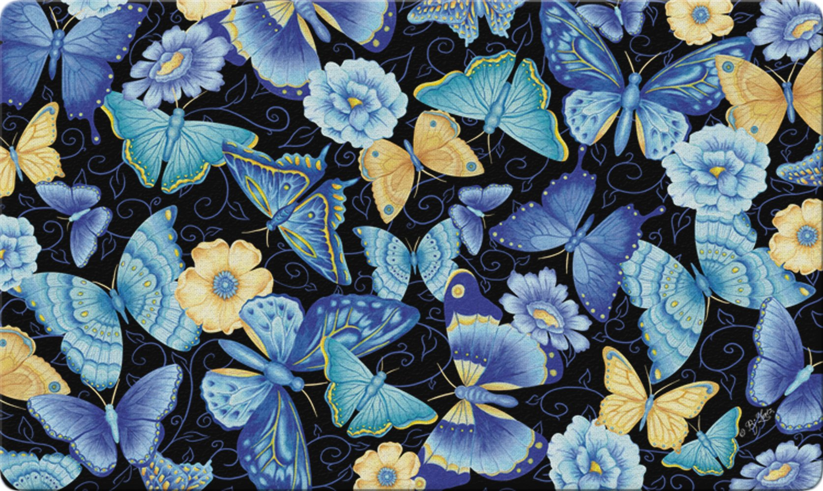 Toland Home Garden Butterfly 18 x 30 Inch Decorative Floor Mat Colorful Flower Monarch Collage Doormat