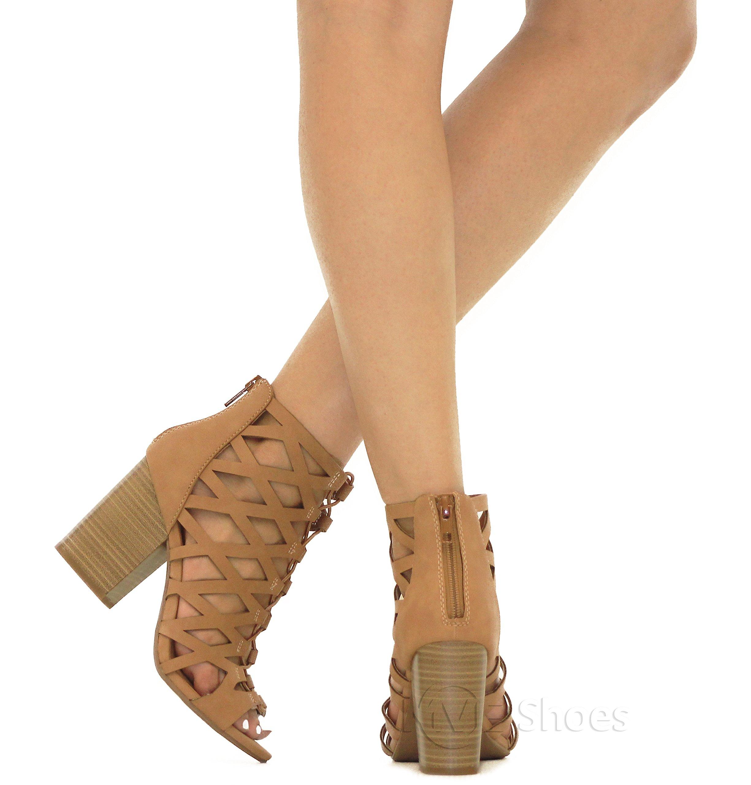 MVE Shoes Women's Open Toe Strappy Back Zipper Chunky Heel, tan nb Size 10 by MVE Shoes (Image #6)