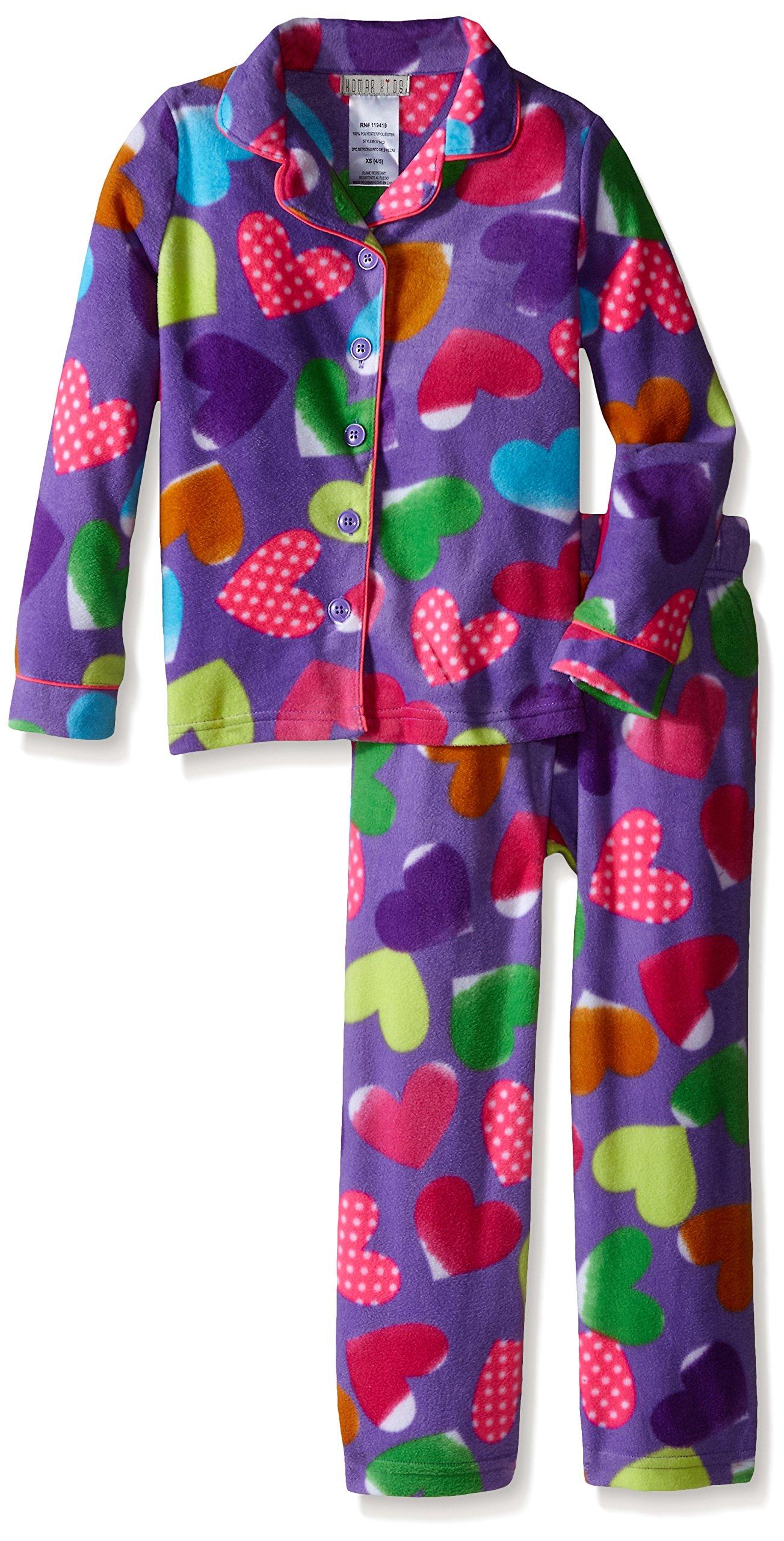 Komar Kids Big Girls' Micro Fleece 2 Piece Hearts Coat Set, Lilac, X-Small