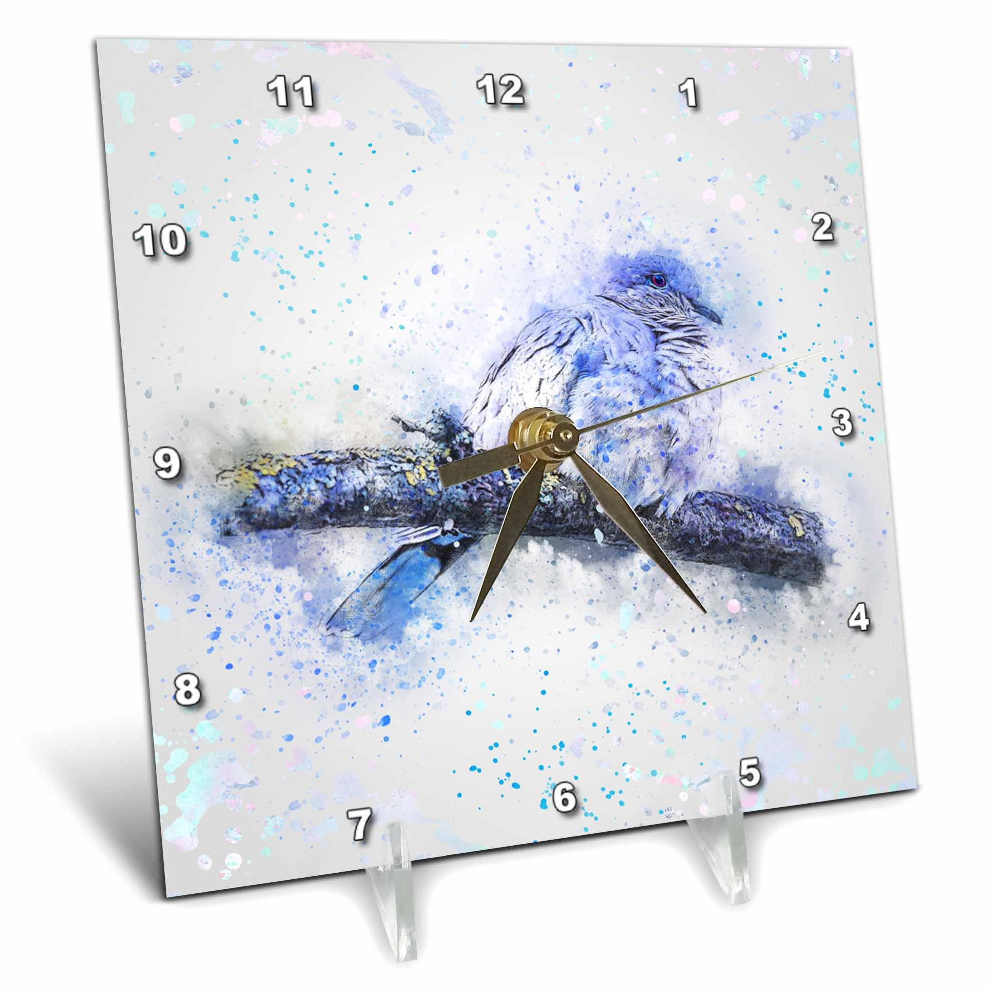 3dRose Andrea Haase Animals Illustration - Blue Watercolor Bird Painting - 6x6 Desk Clock (dc_282469_1)