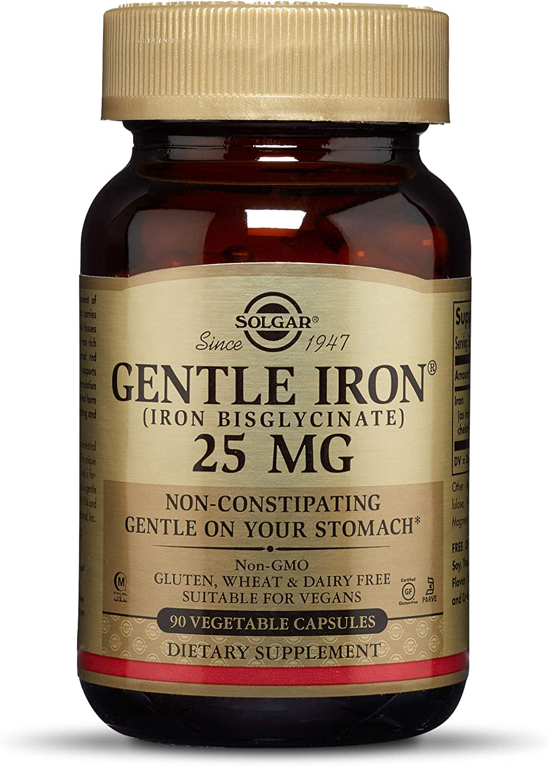 SOLGAR Gentle Iron Vegetable Capsules Bonus, 90 CT