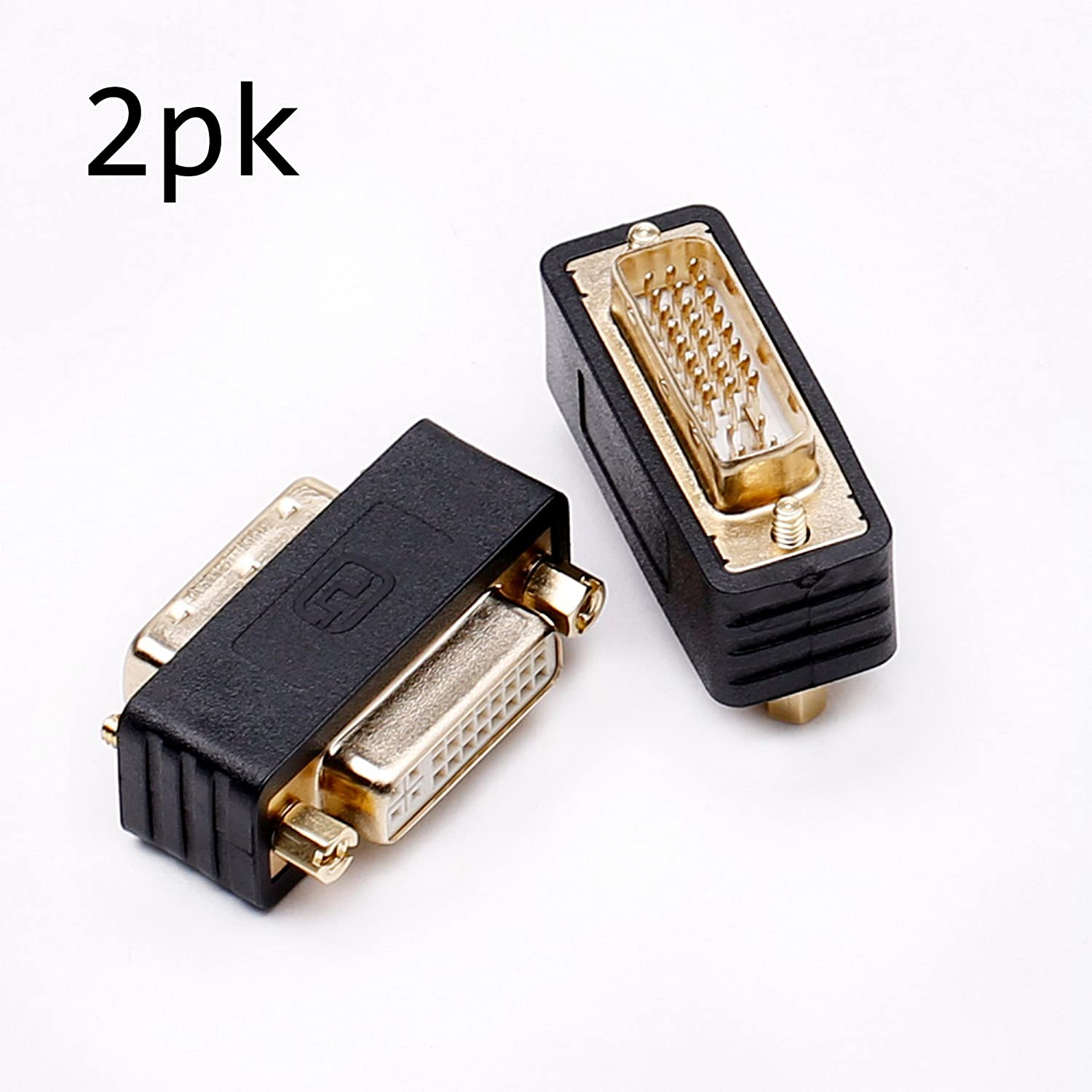 DVI coupler female to female gender changer bulkhead mount adapter (black gold plated) 2 Pack JIACHEN KADVDV0001-G-2