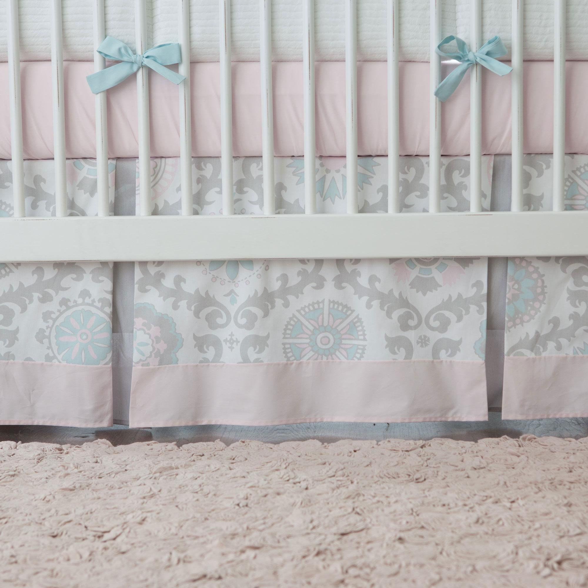 Carousel Designs Pink and Gray Rosa Crib Skirt Two Front Pleats 14-Inch Length